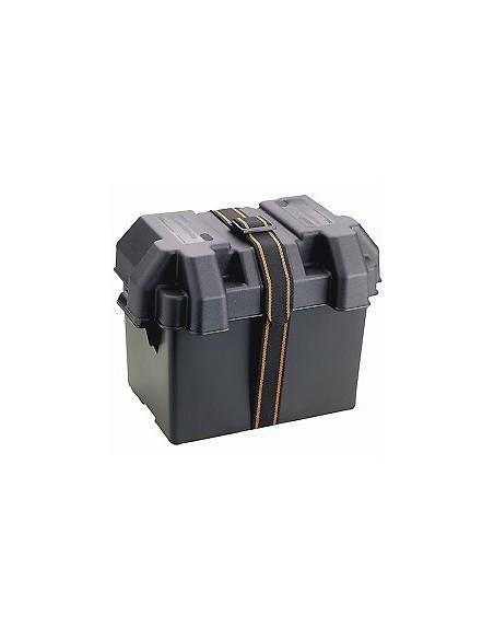 Batterilåda 340 x 195 x 269mm med spännrem & skruvar. Svart