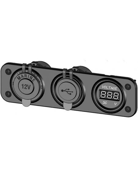 Panel med 12V strömuttag, 2st USB-uttag samt voltmeter