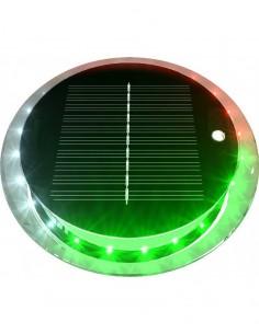 LED-lanterna med solcellspanel & inbyggt batteri, rundstrålande. Rött-vitt-grönt